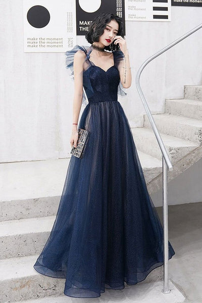 Dark blue sweetheart tulle long prom dress blue tulle formal dress KS5269
