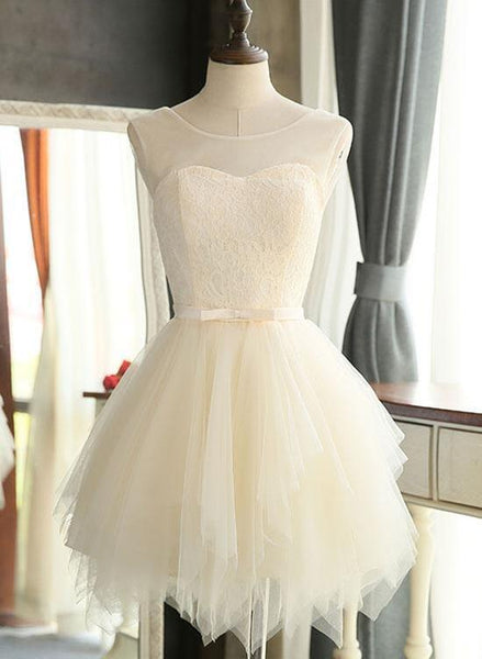 Lovely Tulle and Lace Homecoming Dress, Cute Short Prom Dress KS6492