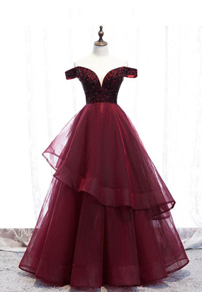 Burgundy tulle beads long prom gown evening dress KS4075