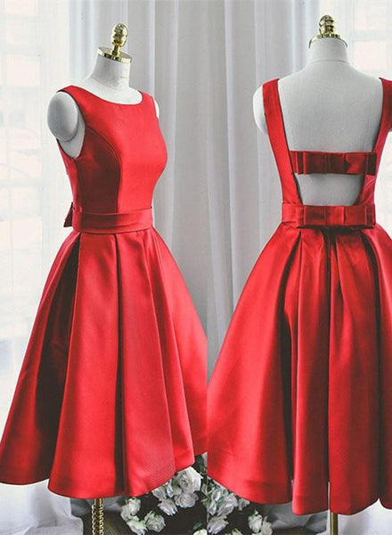 Lovely Red Satin Short Party Dress, Red Prom Dress KS5497