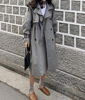 New Fashion brand Double Breasted Vintage Autumn winter trench overcoats with Belts  ladies long coat Outerwear jaqueta feminina