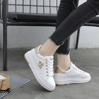 Women Casual Shoes New Women Sneakers Fashion Breathable PU Leather Platform White Women Shoes Soft Footwears Rhinestone