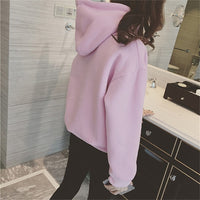 New Social Harajuku Hoodies For Girls Solid Color Hooded Tops Women's Sweatshirt Long-sleeved Winter Velvet Thickening Coat