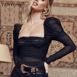 Fantoye Sexy Black Lace Low Collar Bodysuit Women Mesh Layered Backless Ruffles Slim Bodycon Tops Femme Elegant Vintage Overalls