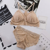 Sexy Lace Bra Sets Women Seamless Embroidery Bralette Wireless Breathable Underwear Lingerie Set