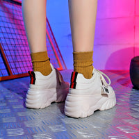 Hight Increase Ulzzang Women Casual Shoes Woman Sneakers Platform Wedges High Heels Flats Loafers Ladies Creepers Trainers