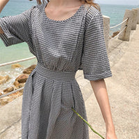 Women Summer Long Plaid Sexy Backless Dress A-line Bow Tie Vestidos with Belt Bodycon Robe Femme Back Button Sukienki Sundress