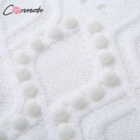 Conmoto Fashion White Hollow out Sweaters Women Autumn Winter Casual Thin Short Knit Tops Female Chic Jumpers Pull Femme
