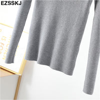 casual Zipper Sweater Women Turtleneck Solid spring autumn female Knitted sweater Pullovers long Sleeve chic Soft Jumper top
