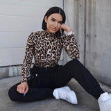 EIFER Leopard Bodysuit for Women Sexy Bodycon Skinny Body Suit Turtleneck Long Sleeve Playsuit Printed Romper Jumpsuits