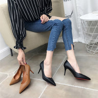 Fashion PU Leather High Heels Women Pumps Pointed Toe Work Pump Stiletto Woman Shoes Wedding Shoes Office Career Elegant Pumps