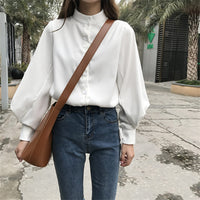 Woherb Womens Tops Blouses Vintage Long Sleeve Autumn Winter Thick Shirts Ladies Korean White Blusas Mujer De Moda Blouse