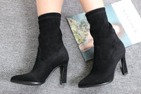 QUTAA 2020 Suede Pointed Toe Women Ankle Boots Leopard Fashion Hoof High Heel All Match Short Woman Shoes Fur Boots Size 34-43