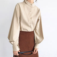 Vintage Lantern Sleeve Autumn Winter Thicken Women Shirt Blouses Single Breasted Blouse Female Loose Shirts Tops blusas mujer