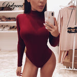 Dulzura cotton long sleeve women sexy bodysuit autumn winter female Mock Neck warm clothes slim fit fashion solid body suit