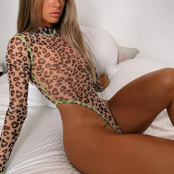 Summer Sexy Women Leopard Bodysuit High Cut Leotard Thong Clubwear Bodycon Jumpsuit Bodys Romper Tops Overalls For Women