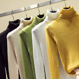 Turtleneck Solid Pullovers Women Sweaters Winter Vintage Lady's Knitted Sweaters Female Korean Long Sleeve Kawaii Casual Jumper