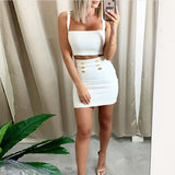 Ocstrade Summer 2 Piece Bandage Dress New Airrival Women Rayon White Bandage Dress Bodycon Mini Sexy Two Piece Set Outfit