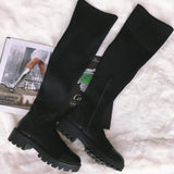 Slim Stretch Lycra Knee High Boots Platform Winter Boots Women Long Boots Winter Shoes Women Sock Boots Over the Knee Boots