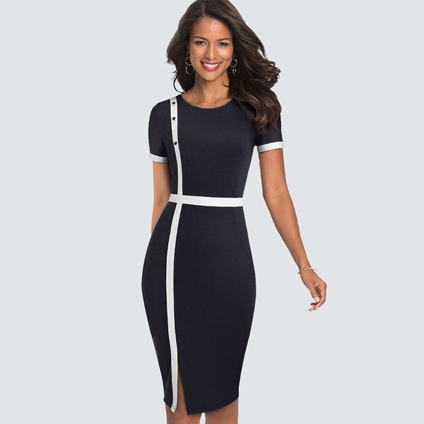 Summer short sleeve Patchwork Office Lady Pencil Dress Women Elegant Business Sheath Bodycon Dress HB520