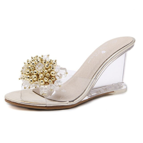 Dwayne Summer New Wedges Sandals Women Sexy Crystal Transparent High Heels Glass Slippers String Bead PVC Slippers Fashion Shoes