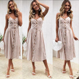 Boho Style Sexy Dress Vintage White Sundress Women Summer Dress Midi Button Backless Striped Floral Beach Dress Female