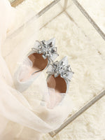 Free shipping 1pair luxury Silver crystal bow shiny wedding engagement marriage Proposal Surprise party gift high heel shoes
