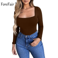 Forefair Sexy Bodycon Bodysuit Long Sleeve Square Neck Sheath Open Crotch Basic White Black Red Overalls Women Body Top