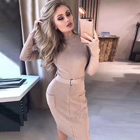 Autumn New Women's Fashion Sexy Solid Color Matching Belt Bodycon Long Sleeve Round Neck Party Dress Wholesale Vestidos
