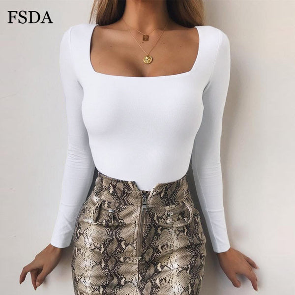 FSDA Long Sleeve Knitted Skinny Bodysuit Women Winter Autumn Winter Solid Square Collar White Black Casual Body Top Jumpsuit