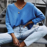 WOTWOY Autumn Winter Knit Pullovers Women Long Sleeve Basic Cashmere Sweater Women Pullover Knitted Casual Blue Female Jumper