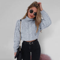 Danjeaner Sexy Retro Twisted Turtleneck Sweater Autumn Winter Women Plus Size Thick Long Sleeve Short Pullovers Solid Slim Coats