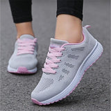 Fast delivery Women casual shoes fashion breathable Walking mesh lace up flat shoes sneakers women tenis feminino