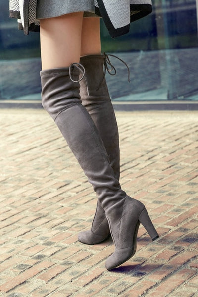Thigh High Boots Women Suede Over the Knee Boots High Heel Sexy Party Wedding Overknee Boots Fall Winter Shoes Black Grey