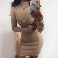 ZHYMIHRET Elegant Mock Neck Ribbed Dress For Women Autumn Winter Mini Bodycon Dress Neon Color Long Sleeve Vestidos Mujer 2018