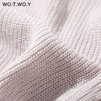 WOTWOY Autumn Winter Turtleneck Women Sweater Long Knitted Pullovers Women Loose Casual Sweaters Female Jumper Cashmere
