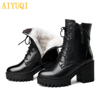AIYUQI Women bare boots new genuine leather women boots  natural wool warm women winter naked boots  fashion women shoes