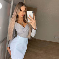 Toplook reflective cross bodysuit women sexy long sleeve V-neck autumn winter fahsion bodycon party club solid body