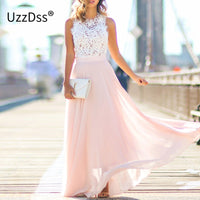 UZZDSS New Arrival Sring Evening Party Hollow Out Beach Dress Womens Boho Sleeveless Maxi Dress Party dresses Dropshipping