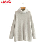 Tangada women jumpers turtleneck sweaters oversize winter fashion  long sweater coat batwing sleeve christmas sweate HY135
