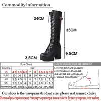 Gdgydh Hot Sale Spring Autumn Lacing Knee High Boots Women Fashion White Square Heel Woman Leather Shoes Winter PU Large Size 43