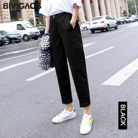 New Spring Women Clothing Straight Overalls Casual Harem Pants Korean Elastic Waist Triangle Buckle Cargo Pants