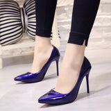 Plus Size 34-44 Hot Women Shoes Pointed Toe Pumps Patent Leather Dress High Heels Boat Wedding Zapatos Mujer Blue Wine Red