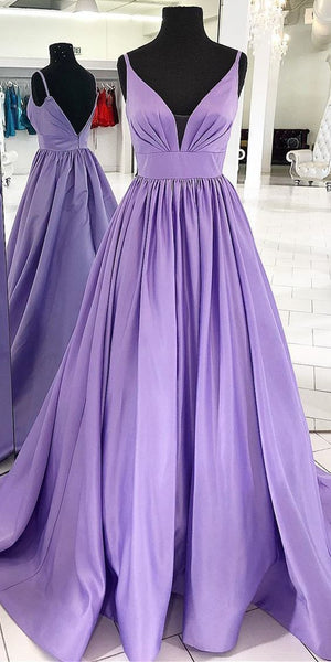 Purple Prom Dress,A-Line Prom Gown,Satin Prom Dress,V-Neck Prom Gown 9837