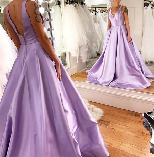 Purple Prom Dress,A-Line Prom Gown,Long Satin V-neck Dresses 9838