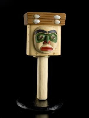 29. Man and the First Salmon Bentwood Box Rattle