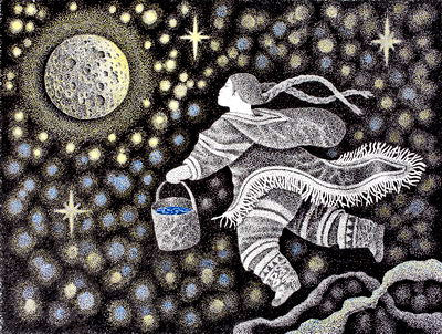 20. WOMAN WATERING MOON