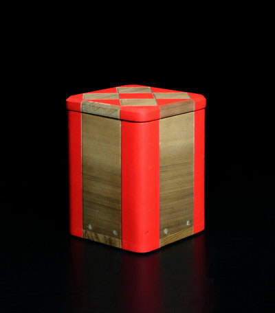24. Red Corner Bentwood box