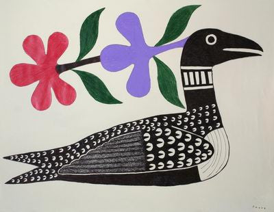 3. Loon With Red And Purple Flowers