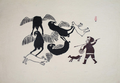 Untitled (Hunter & Dogs With Four Large Birds)
